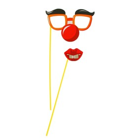 Аксессуар для фотосессии «Гигант», на палочке, 2 предмета: губки, очки с бровями