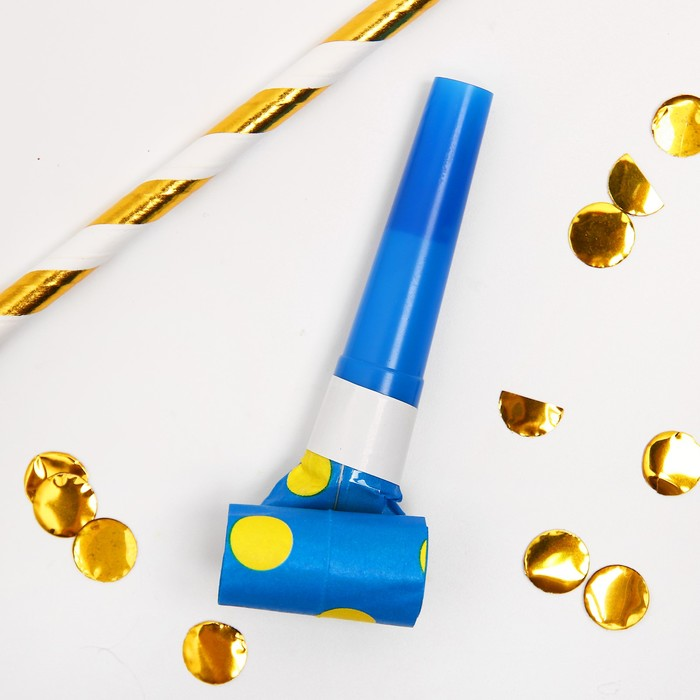 Карнавальный язычок Горох, набор 6 шт., цвет синий