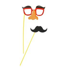 Аксессуар для фотосессии «Гигант», на палочке, 2 предмета: усы, очки с бровями и носом Ош