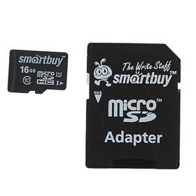 Карта памяти Smartbuy microSD, 16 Гб, SDHC, класс 10, с адаптером SD Ош
