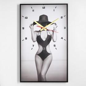Часы настенные, серия: Люди, 'Девушка в шляпе', 37х60 см Ош