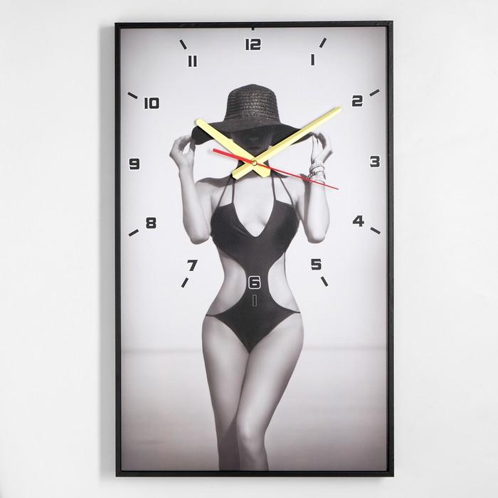 Часы настенные, серия Люди, Девушка в шляпе, 57х35х4