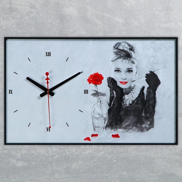Часы настенные, серия Люди, Одри Хепберн, 57х35х4