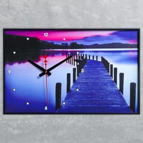 Часы настенные, серия: Природа, 'Пирс на озере', 57х35х4  см, микс Ош