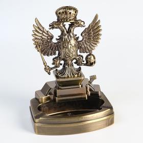Зажигалка настольная 'Двухглавый орел' с пепельницей, газ, 16х11.3х8.7 см Ош
