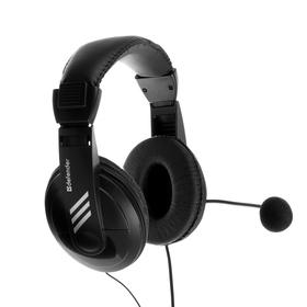 Наушники Defender Gryphon HN-750, компьютерные, микрофон, 105 дБ, 32 Ом, 3.5 мм, 2 м, чёрные Ош