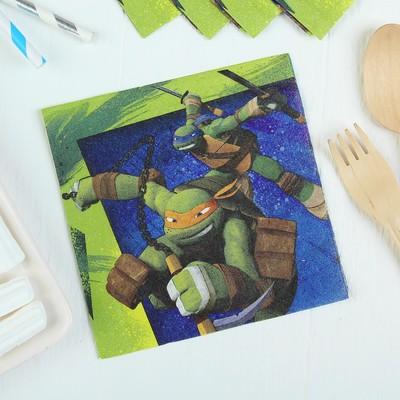 Салфетки бумажные «Черепашки-ниндзя», 25х25 см, набор 16 шт. - Фото 1