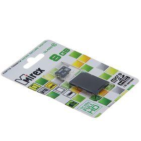 Карта памяти Mirex microSD, 8 Гб, SDHC, класс 10, с адаптером SD Ош