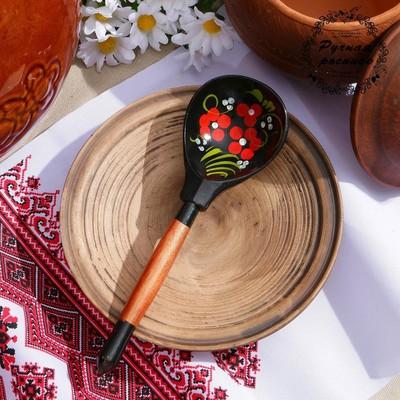Ложка деревянная «Чернушка», полубаская, хохлома - Фото 1