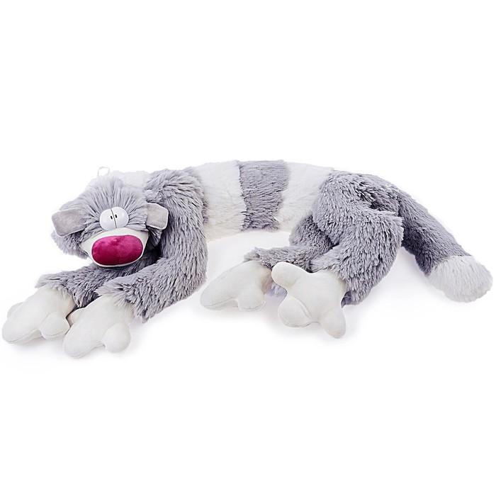 Мягкая игрушка Кот Бекон, 112 см, цвет бело-серый