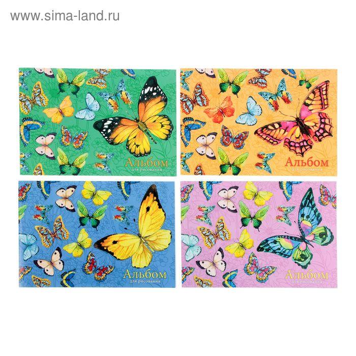 """Альбом для рисования А4, 40 листов на клею """"Бабочки"""", обложка картон 190 г/м2, блёстки, блок офсет 120 г/м2, 4 вида МИКС"""
