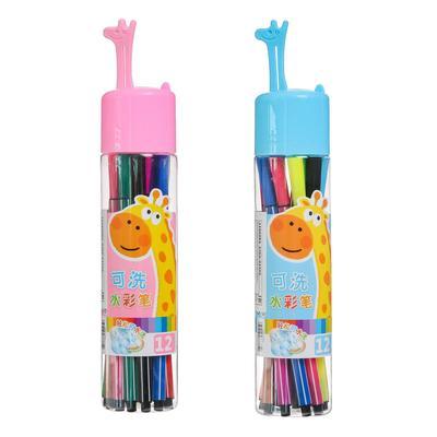 Фломастеры, 12 цветов, в пластиковом тубусе, вентилируемый колпачок, «Ракета», МИКС - Фото 1