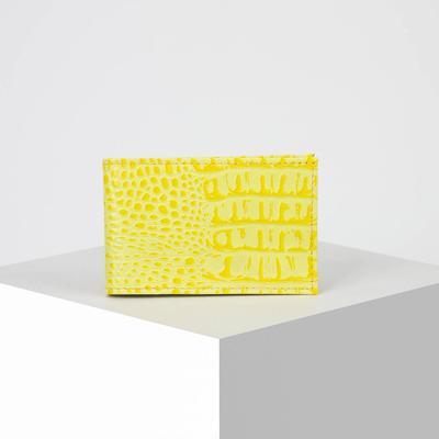 Визитница, 1 ряд, 18 листов, кайман, цвет жёлтый