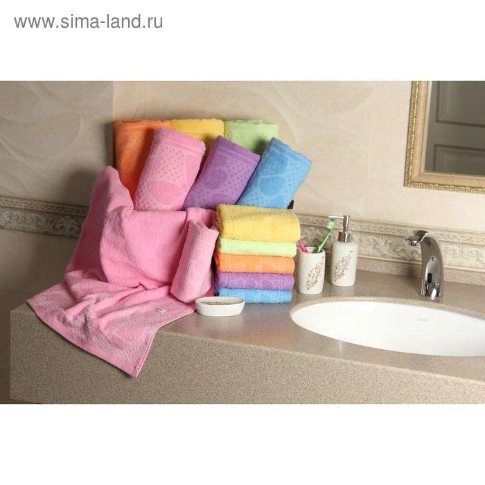 """Полотенце махровое """"Этель"""" Ариа розовый 50*90 см, 100% хлопок, 400гр/м2"""