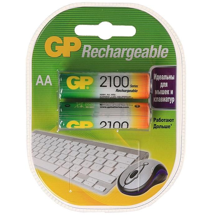 Аккумулятор GP, Ni-Mh, AA, HR6-2BL, 1.2В, 2100 мАч, блистер, 2 шт.
