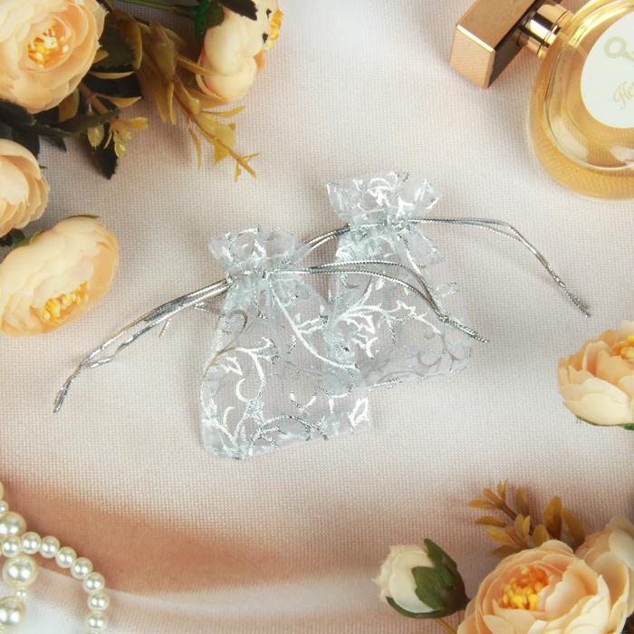 Мешочек подарочный универсальный Узор серебристый 75, цвет серебро