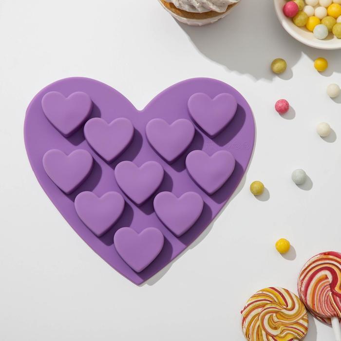 "Форма для льда и шоколада, 10 ячеек, 15х14,5х1,5 см ""Сердечки"", цвета МИКС"