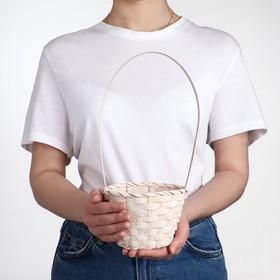 Корзина плетёная, бамбук, белая, (цилиндр) Ош
