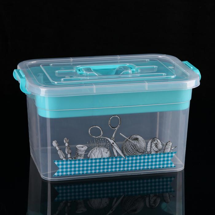 Контейнер для хранения с крышкой и вкладышем «Рукоделие», 10 л, 35×23×19 см, цвет МИКС