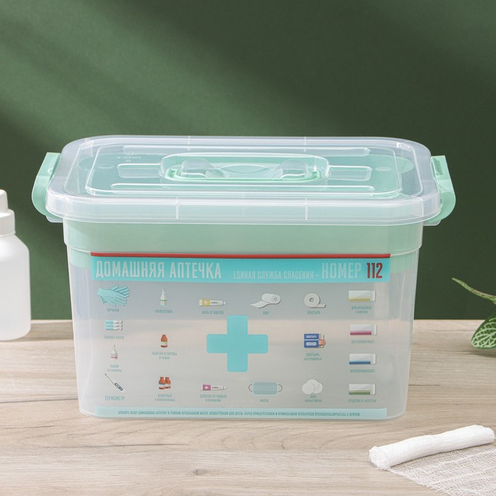 Аптечка с вкладышем «Домашний доктор», 6,5 л, цвет МИКС
