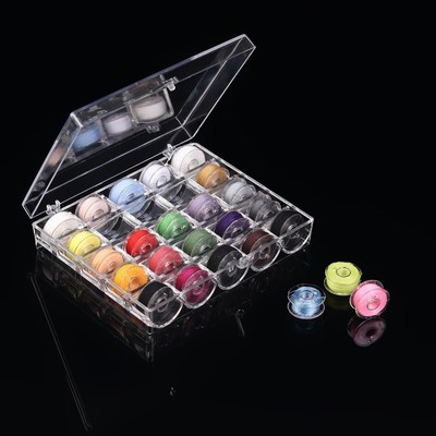 Набор шпулек с нитками в контейнере, d = 20 мм, 25 шт, цвет МИКС - Фото 1