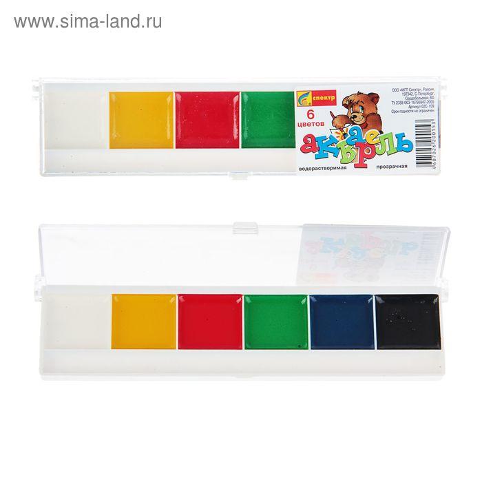 Акварель медовая «Спектр», «Акварелька», 6 цветов, в пластиковой коробке