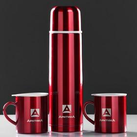 """Набор """"Арктика"""": термос вакуумный для напитков 1 л,2 кружки невакуумные 300 мл,красный, микс 1167142"""