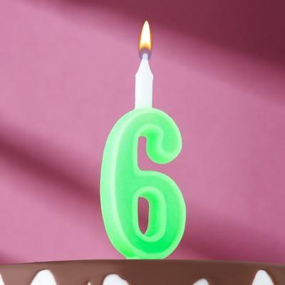 "Свеча для торта цифра ""Классика"" ""6"" зелёная - Фото 1"