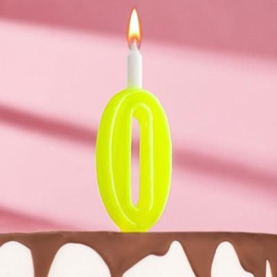 """Свеча для торта цифра """"Классика"""" """"0"""" жёлтая - Фото 1"""