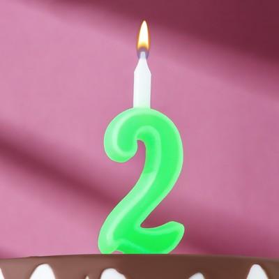 "Свеча для торта цифра ""Классика"" ""2"" зелёная - Фото 1"
