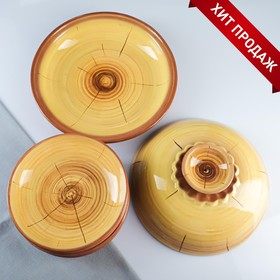 Набор для блинов 7 предметов: 1 шт. блинница, 6 шт. тарелок, с росписью, можжевельник