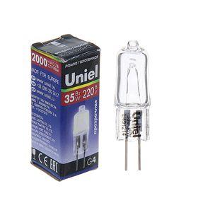 Лампа галогенная Uniel, G4, 35 Вт, 220 В, прозрачная