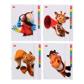 Тетрадь 48 листов в клетку «КУ-КУ», картонная обложка, выборочный УФ-лак, МИКС