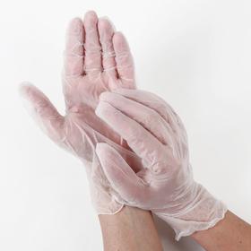 Перчатки виниловые одноразовые неопудренные A.D.M, размер L, 100 шт/уп