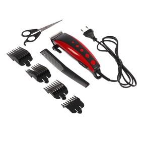 Машинка для стрижки волос Irit IR-3308, 10 Вт, 220 В, 4 насадки, красная Ош