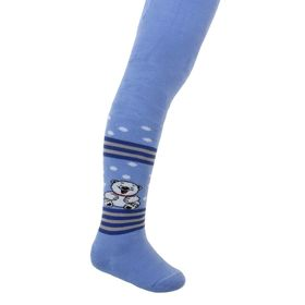 Колготки детские махровые, цвет голубой, рост 92-98 см