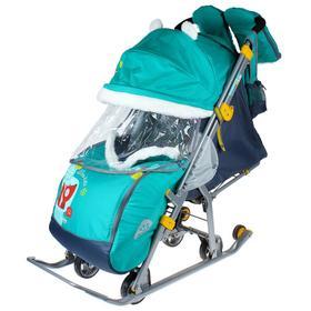 Cанки коляска «Ника детям 7-2. Коллаж - лисички/изумруд» с выдвижными колёсами Ош