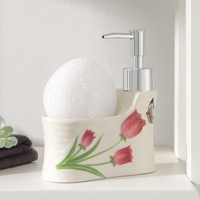 Дозатор для моющего средства с подставкой для губки Доляна «Бабочка на тюльпане», 220 мл - Фото 1