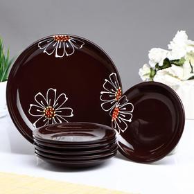"""Набор для блинов """"Псковский"""", 7 предметов: блюдо 24х16см, коричневый"""