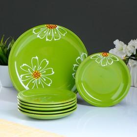Набор для блинов 'Псковский', 7 предметов: блюда d=24 см, 16 см, цвет зелёный Ош