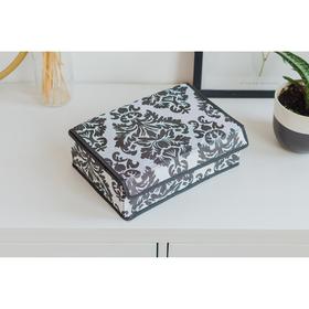 Органайзер для белья с крышкой Доляна «Вензель», 12 ячеек, 30×20×10 см, цвет чёрно-белый Ош