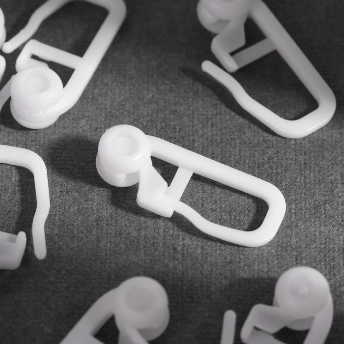 Крючок для штор, роликовый, 25 10 мм, цвет белый