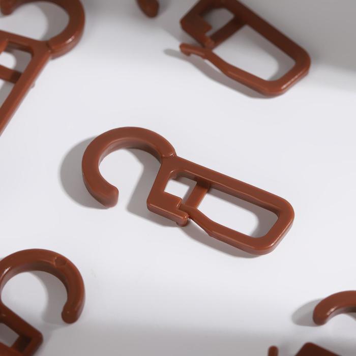 Крючок для штор, на кольцо, 30 13 мм, цвет коричневый