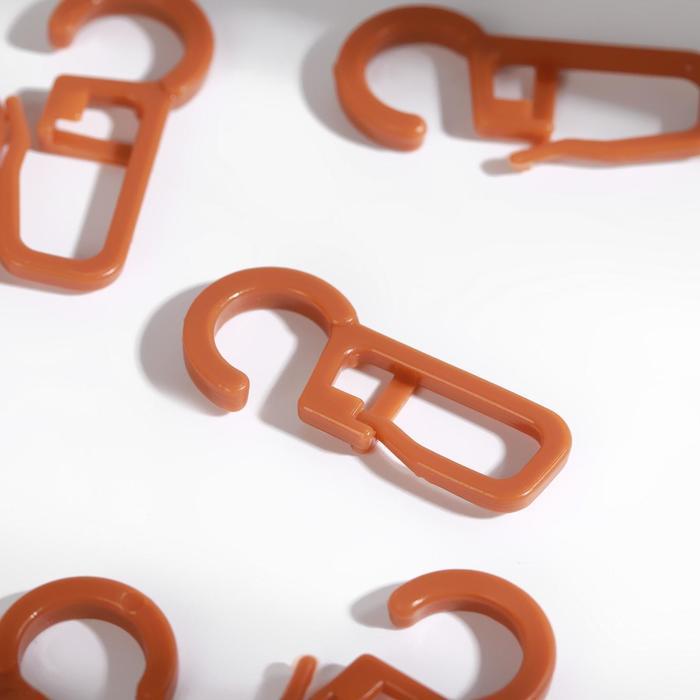 Крючок для штор на кольцо, 30 × 13 мм, цвет черешня