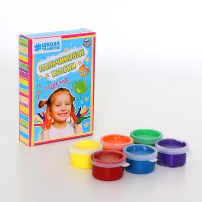 Пальчиковые краски 6 цветов по 35 мл,зеленый, желтый, синий,оранжевый, фиолетовый, красный