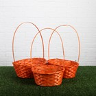 Набор корзин плетёных, оранжевые, бамбук, 3 шт.