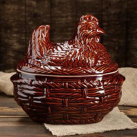 """Горшок духовой """"Курица"""", керамика, 3 л"""