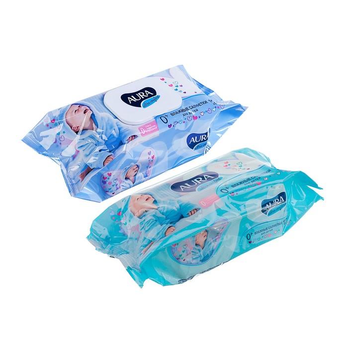 Влажные салфетки Aura Ultra Comfort, детские с экстрактом алоэ, 120 шт.