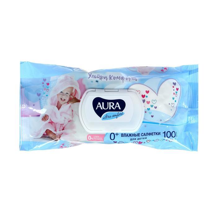 Влажные салфетки Aura Ultra Comfort, детские, гипоаллергенные, 100 шт.