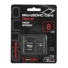Карта памяти Qumo microSD, 8 Гб, SDHC, класс 10, с адаптером SD